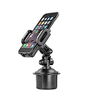 Mediabridge Smartphone Cradle with Cup Holder Mount - Car Cup Holder Mount for iPhone 6/6 Plus/5S/5C/5/4S, Samsung Galaxy S5/S4/S3/Note II/Note 3/ Note 4, HTC One, Motorola Razr Maxx HD (Fits Smartphone Widths of 2 -4 )