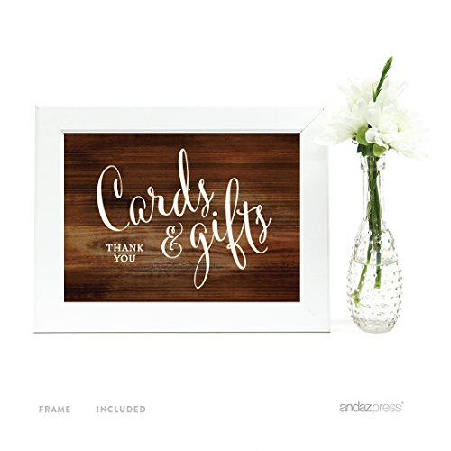 Andaz Press Wedding Framed Party Signs, Rustic Wood Print, 5x7-inch, Cards and Gifts Thank You, 1-Pack, Includes Frame