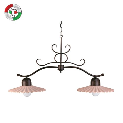 Lampadario bilancia in metallo e ceramica terracotta 2 luci classico