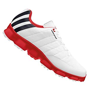 adidas Men's Crossflex Golf Shoe,White/Black/Red,10 M US