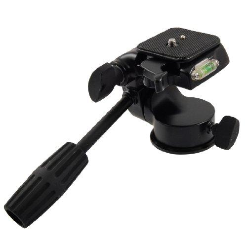 Black Metal Loading Camera Tripod Pan-tilt Head Holder w Gradienter