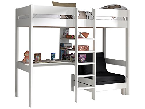 Emob Lit mezzanine avec canapé-lit - blanc