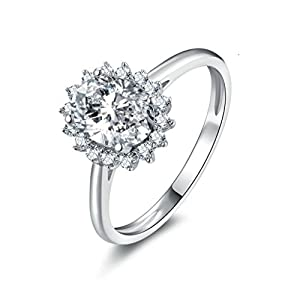 AmDxD Jewelry Silver Plated Women Promise Rings (Customizable Size) Flower Cut CZ Inlaid,Engraving