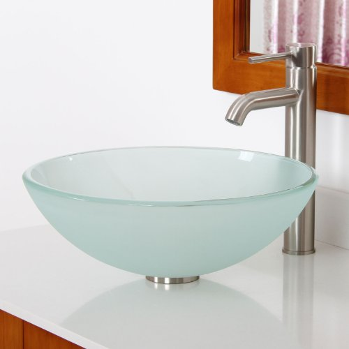 Elite round frosted glass vessel sink combo with brushed for Are vessel sinks out of style