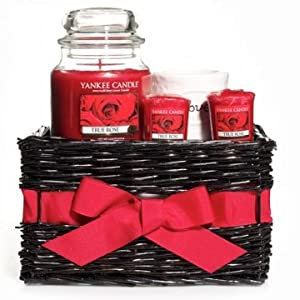 """Yankee Candle TRUE ROSE Gift Basket - 14.5 oz Jar Candle, 3 Votive Candles with a """"Love"""" Glass Votive Holder"""