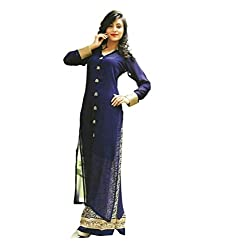 The Zeel Fashion Navy Blue Color gorgette Anarkali Salwar Suit Unstitched dress material