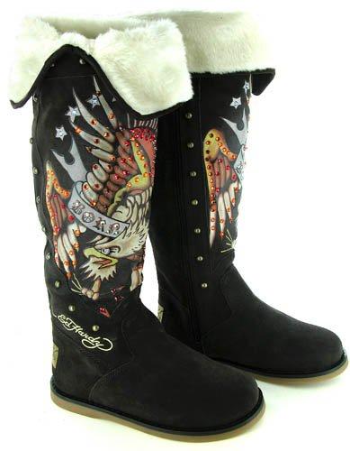 ED HARDY 18FSZ204W Snowblazer Womens SZ 9 Brown Boots Snow