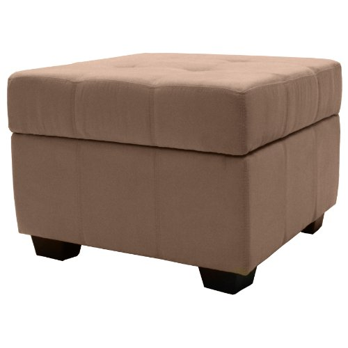 Epic Furnishings Microfiber Upholstered Tufted Padded Hinged Square Storage Ottoman Bench 24
