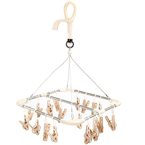 Aojia Clip and Drip Hanger Clothes Drying Hanger Rack with 20 Clips,29x29x45cm,260g, Cc8203