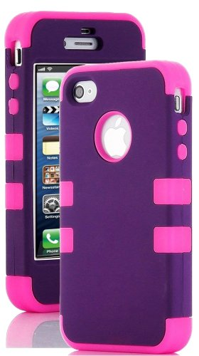 Mylife (Tm) Hot Pink And Purple - Colorful Flat Matte Series (Neo Hypergrip Flex Gel) 3 Piece Case For Iphone 5/5S (5G) 5Th Generation Itouch Smartphone By Apple (External 2 Piece Fitted On Hard Rubberized Plates + Internal Soft Silicone Easy Grip Bumper