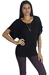 Free to Live Flowy Draped Dolman Sleeve Basic Yoga Top Made in USA