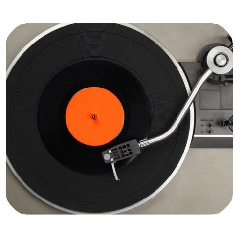 Fashionable Vintage Vinyl Record Turntable Durable Cloth Cover Rectangle Mousepad Mat 9.84