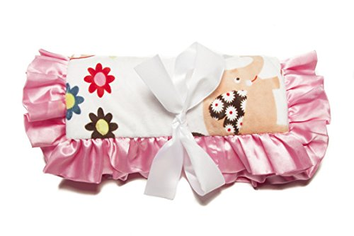 Minky Baby Blanket Trees & Elephants Decorative Ultra-Soft Rose Buds, 36IN X 30IN, Hot Pink