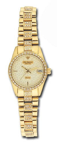 Jules Jurgensen Women's 7479V Pave Crystal Accented Gold-Tone Watch