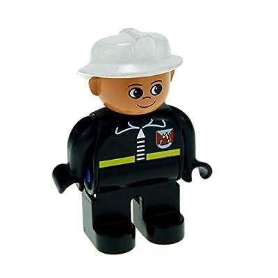 1 x Lego Duplo Figur Feuerwehrmann schwarze Jacke schwarze Hose Helm weiß 4555 Feuerwehr F45