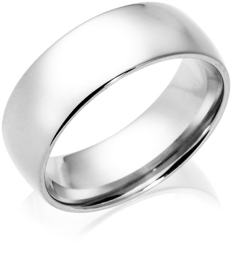 14k White Gold 8mm Comfort Fit Men's Wedding Band