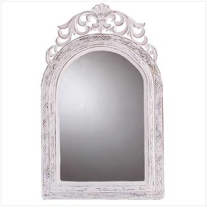 Distress Distressed Finish White Wood Frame Wall Mirror