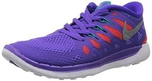 Nike Kids Free 5.0+ (GS) Prpl Vnm/Mtllc Slvr/Trb Grn/Lt Running Shoe 4 Kids US