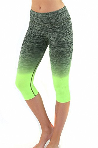 Sassy Apparel Women's Premium Quality Active Wear Seamless Cropped Capri Pants (Small, Neon Green)