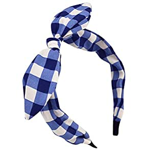 Sea Team Sea Team Wire Headband Stylish Retro With Bow tie Square Print for Women and Girls Blue and White
