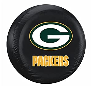 Green Bay Packers Black Tire Cover by Hall of Fame Memorabilia