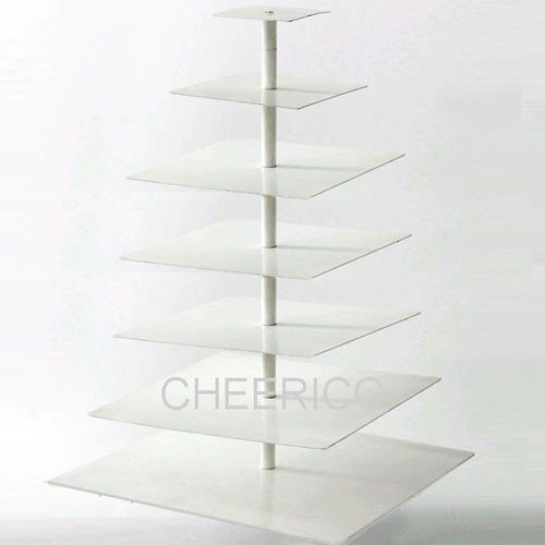 7 Tier Large White Square Pole Wedding Acrylic Cupcake Tower Cupcake Stand (Bubble Wrap 100 Square Feet compare prices)