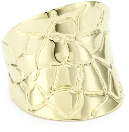 GALA by Daniela Swaebe Crocodile Yellow Gold Concave Ring Size 6