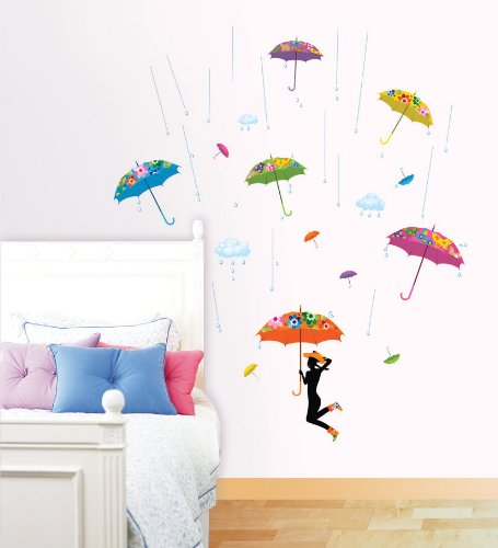 Easy Instant Decoration Wall Sticker Decal  Vintage Print Umbrellas and Rainclouds