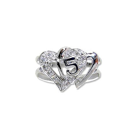 White Rhodium Plated, Double Heart Design 15 Anos Quinceanera Ring With Brilliant Lab Created Gems