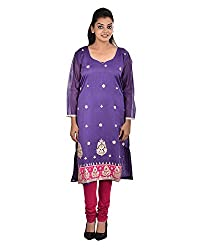 Damyantii Women's Plus Size Straight Purple Kurta