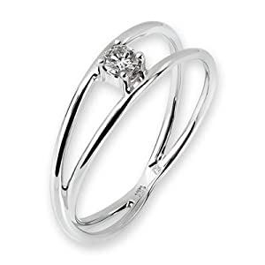 18K White Gold Round Diamond Solitaire Four Prong Setting Infinity Ring (1/10 cttw, G-H Color, VS2-SI1 Clarity)