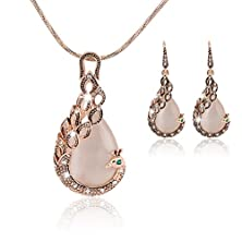 buy Superhai Creative Paragraph Necklace Peacock Opal Drop Earrings Hollow