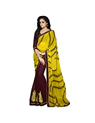 101cart Wonderful Brown Colored Printed Faux Georgette Saree - B00SO7E6F6