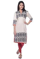 Navriti off white block print khadi kurta