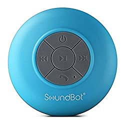 SoundBot SB510 HD Water Resistant Bluetooth 3.0 Shower Speaker, Handsfree Portable Speakerphone with Built-in Mic, 6hrs of playtime, Control Buttons and Dedicated Suction Cup for Showers, Bathroom, Pool, Boat, Car, Beach, & Outdoor Use, Blue
