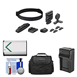Sony BLT-UHM1 Universal Head Mount with NP-BX1 Battery + Charger + Case + Kit for Action Cam HDR-AS100V, AS15 & AS30V Camcorders