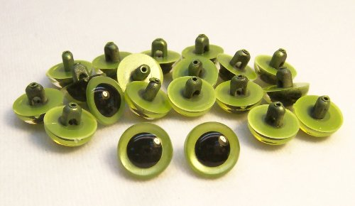 Sassy Bears 13.5mm Pearl Green Sew-in Eyes for Bear, Doll, Puppet, Plush Animal and Craft - 10 Pairs
