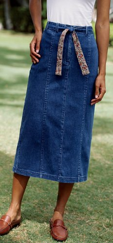 Stretch Denim Skirt, Indigo, 6