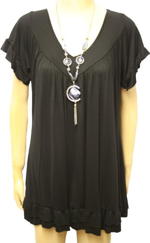 New Ladies Plus Size Frill Necklace Womens Short