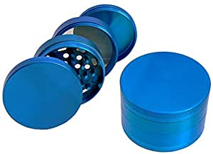 "Herb, Spice or Tobacco Grinder and Mill Blue 4 Pieces 2.5"" with Pollen Catcher & Scraper"