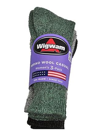 Buy NEW Wigwam Ladies 3pk Merino Wool Blend Casual Crew Socks Gray Green M 6-10 by Wigwam