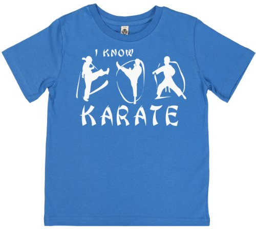 Phunky Buddha - I Know Karate Unisex Kids T Shirts 9-10 Yrs - Blue front-546828