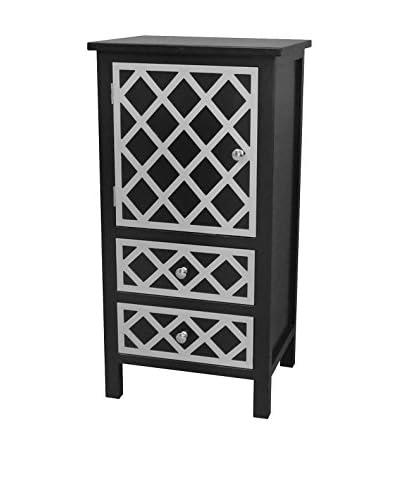 Gallerie Décor Trellis 2-Drawer 1-Door Cabinet, Black