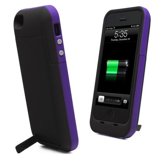 Best Price KAYSCASE Power2500 Battery Cover Case for Apple new iPhone 5 / iPhone 5S Charge and Sync with Lightning Port One Year Warranty (Purple)