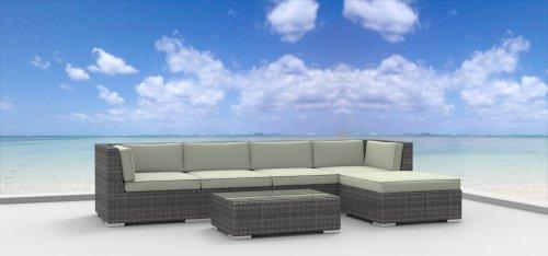 Urban Furnishing - MALO 6pc Modern Outdoor Backyard Wicker Rattan Patio Furniture Sofa Sectional Couch Set - Beige photo