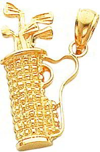 14K Gold Golf Bag & Clubs Charm