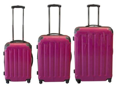 Polycarbonat Kofferset 3tlg pink mit ABS 360°