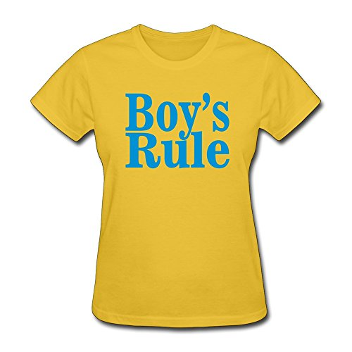 Printed Boys Rule Tshirts Hoodies Sweaters Crew-Neck T-Shirts Gold front-337698
