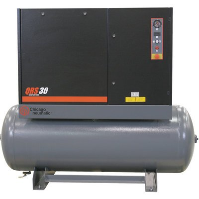 - Chicago Pneumatic Quiet Rotary Screw Air Compressor with Dryer - 30 HP, 230 Volts, 3 Phase, Model# QRS30HPD