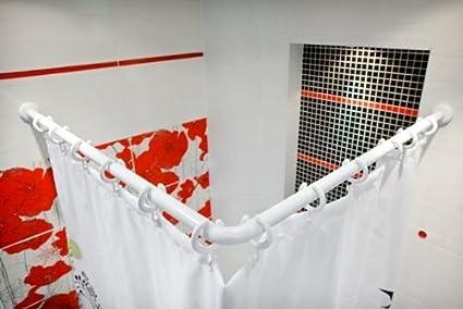 Tringle rideau de douche pour baignoire d angle - Barre rideau de douche ...